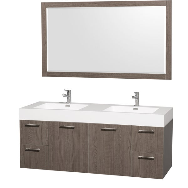 Wyndham Collection 'Amare' 60-inch Grey Oak/ White Double Vanity Set ...