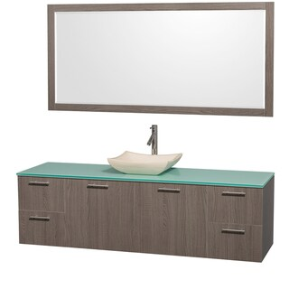 Wyndham Collection 'Amare' 72-inch Grey Oak/ Green Top/ Ivory Sink Vanity Set