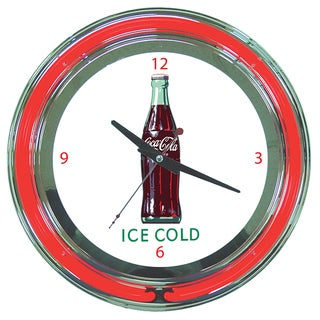 Coca Cola Ice Cold Bottle 14-inch Neon Clock