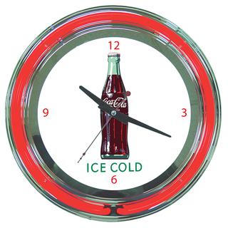 Coca Cola Ice Cold Bottle 14-inch Neon Clock