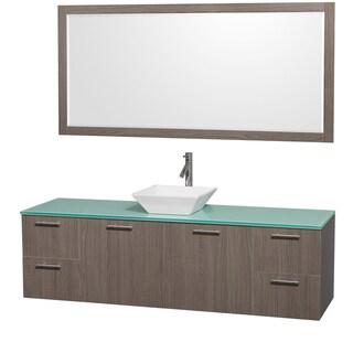 Wyndham Collection 'Amare' 72-inch Grey Oak/ Green Top/ White Sink Vanity Set
