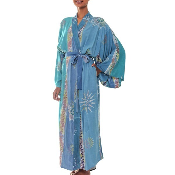 Handmade Green Baliku Artisan Designer Women  x27 s Clothing Fashion Batik Bath  Robe ( 9a5b77a49