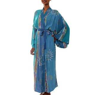 Handmade Green Baliku Artisan Designer Women's Clothing Fashion Batik Bath Robe (Indonesia)
