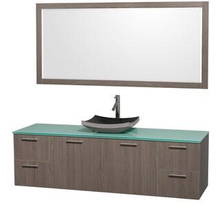 Wyndham Collection 'Amare' 72-inch Grey Oak/ Green Top/ Granite Sink Vanity Set