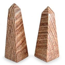 Set of 2 Aragonite 'Towers' Obelisks (Peru)