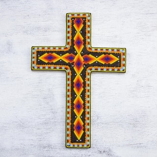 Handcrafted Pinewood and Glass 'Success' Beadwork Cross (Mexico)