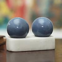 Set of 2 Celestite 'Celestial Peace' Spheres (Peru)