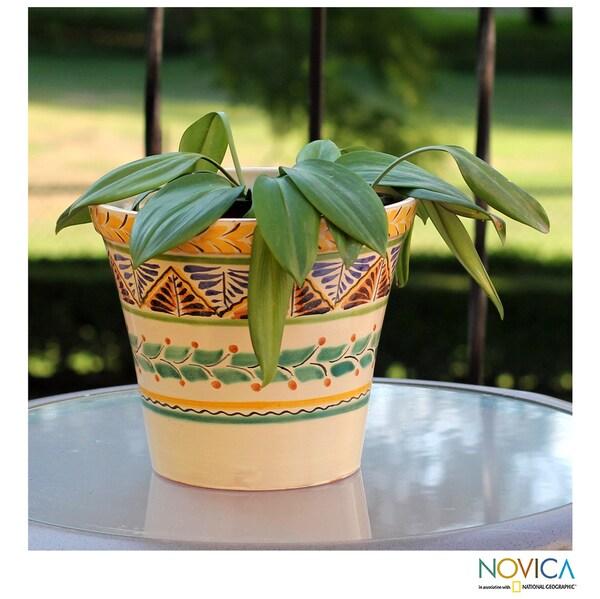 Handcrafted Ceramic 'Sayula' Majolica Flower Pot (Mexico)