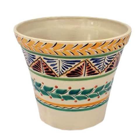 Ceramic 'Sayula' Majolica Flower Planter Pot