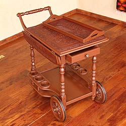 Inca Light Hand Tooled Leather Mohena Wood Drop Leaf One Drawer Removable Tray Brown Decorator Accent Rolling Bar Cart (Peru)