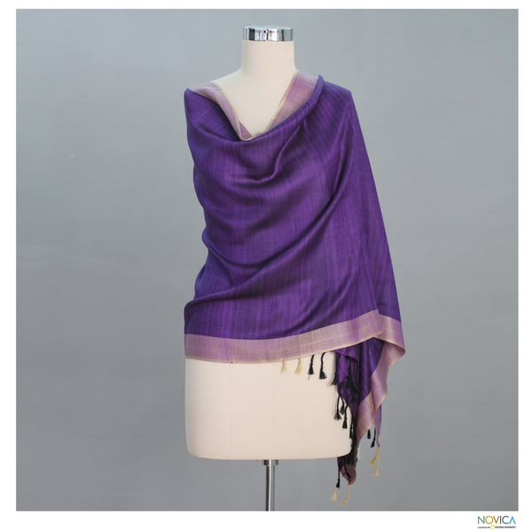 Handcrafted Silk Bhagalpur Lily Solid Purple Shawl (India)