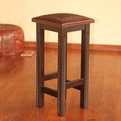handmade mohena wood and leather bar stool