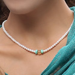 Handmade Pearl 'Lovely Lady' Multi-gemstone Necklace (4.5-5 mm) (Thailand)