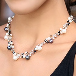 Handmade Pearl and Agate 'A Spark of Romance' Choker (4-8.5 mm) (Thailand)