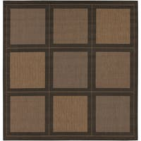 Couristan Recife Summit Cocoa-Black Indoor/Outdoor Square Rug - 7'6 x 7'6