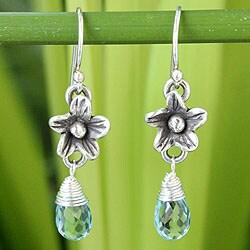 Handmade Sterling Silver 'Rainforest Dew' Blue Topaz Earrings (Thailand)