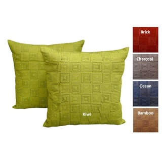 'City' Solid Geometric Embroidered 18x18-inch Throw Pillows (Set of 2)