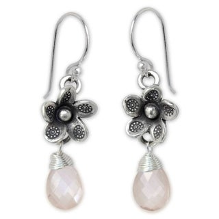 Handmade Sterling Silver 'Rainforest Roses' Rose Quartz Earrings (Thailand)