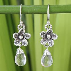 Handmade Sterling Silver 'Rainforest Roses' Rose Quartz Earrings (Thailand)