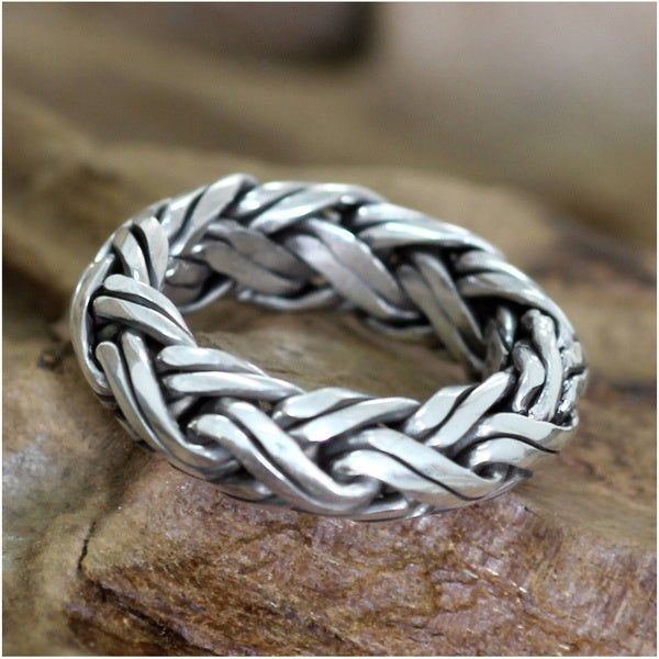 Gallant Artisan Handmade Braided 925 Sterling Silver Suitable as Wedding Band Mens Ring (Indonesia)