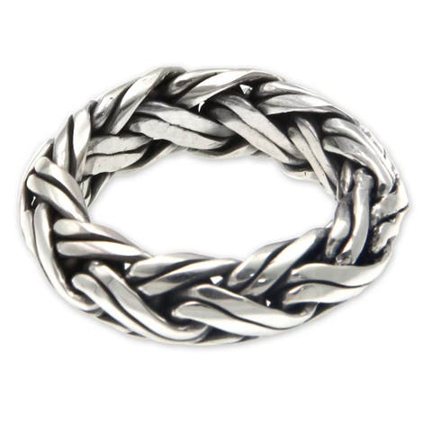 Handmade Gallant Artisan Braided Mens Sterling Silver Ring (Indonesia)