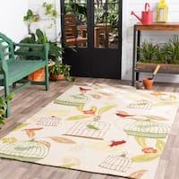 Hand-hooked Canaries Antique White Indoor/Outdoor Area Rug - 3' x 5'