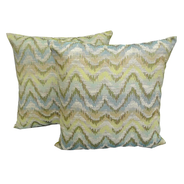 Sea Foam Woven Ikat Printed 18x18-inch Throw Pillows (Set of 2)