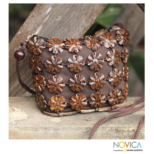 Handmade Coconut Shell 'Petite Brown Blossoms' Shoulder Bag (Thailand)
