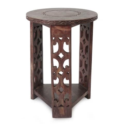 Handmade Sese Wood Strength and Humility End Table (Ghana)