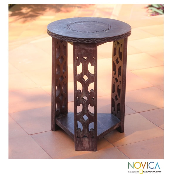 Handmade Sese Wood 'Strength and Humility' End Table (Ghana)