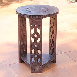 Sese Wood 'Strength and Humility' Accent Table (Ghana)