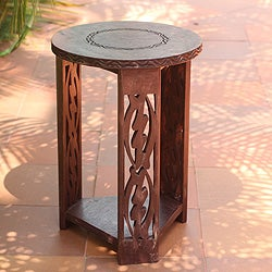 Handmade Sese Wood 'I Fear Only God' End Table (Ghana)