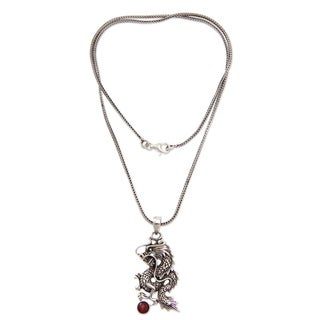 Sterling Silver Men's 'Dragon's Ball' Garnet Necklace (Indonesia)
