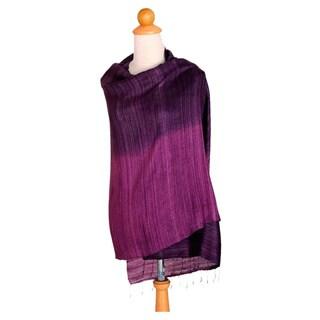 Handmade Silk 'Bold Violet' Shawl (Thailand)