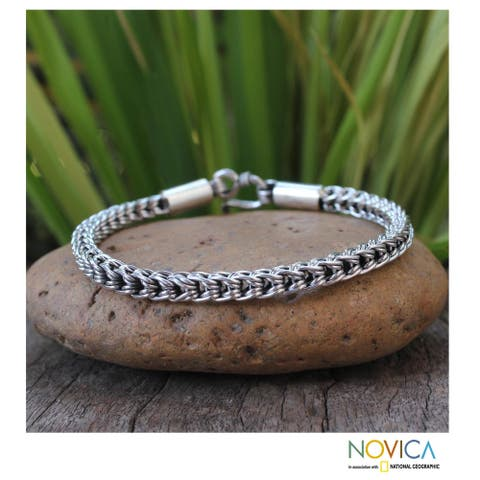 Handmade Sterling Silver Intricate Textures Braided Style Chain Bracelet (Thailand)