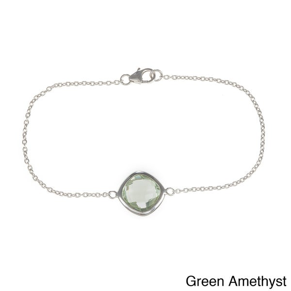 La Preciosa Sterling Silver Gemstone 7-inch Bracelet