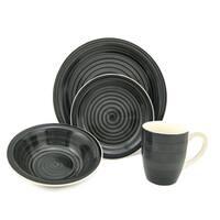 Black Swirl Stoneware 16-piece Dinnerware Set