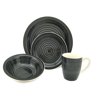 Black Swirl Stoneware 16-piece Dinnerware Set