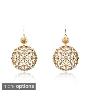 Riccova 14k Goldplated Lace Medallion Dangle Earrings