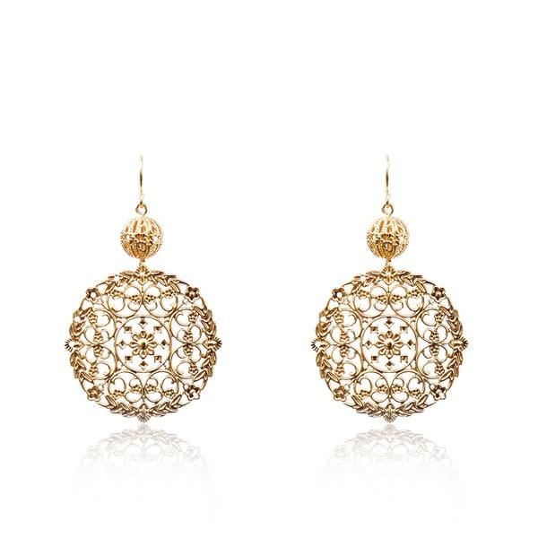 Riccova 14k Goldplated Lace Medallion Dangle Earrings