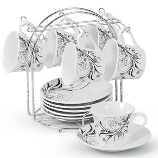 Black/ White Damask 12-piece Espresso Set with Stand