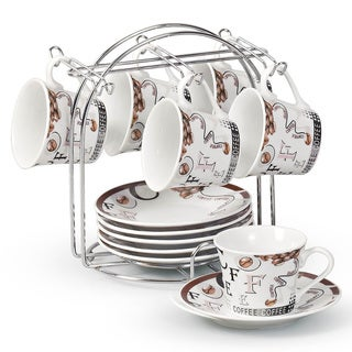Coffee and Bean 12-piece Espresso Set with Stand