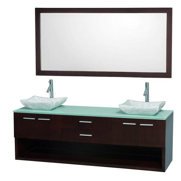 Wyndham Collection 'Andrea' 72-inch Espresso/ Green Top/ Carrera Sink Vanity Set