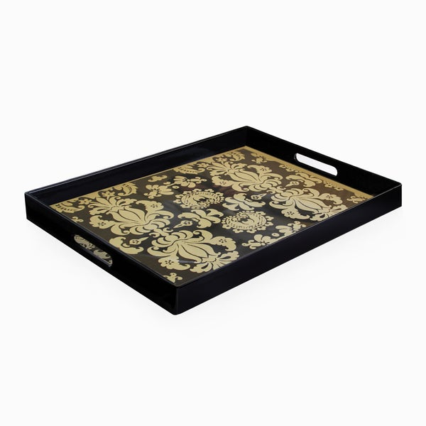 Accents by Jay Black/ Gold Serving Tray
