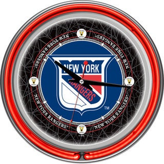 NHL Vintage New York Rangers Double Neon Ring Clock