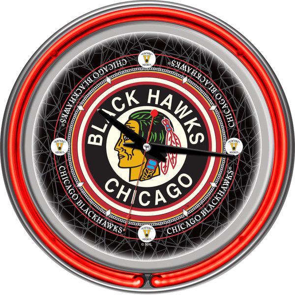 NHL Vintage Chicago Blackhawks Double Neon Ring Clock