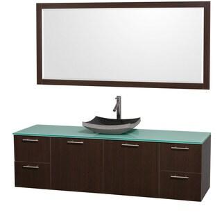 Wyndham Collection 'Amare' 72-inch Espresso/ Green Top/ Granite Sink Vanity Set