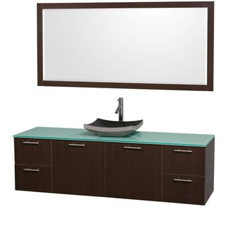 Wyndham Collection U0027Amareu0027 72 Inch Espresso/ Green Top/ Granite Sink Vanity