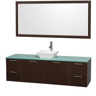 Wyndham Collection 'Amare' 72-inch Espresso/ Green Top/ White Sink Vanity Set
