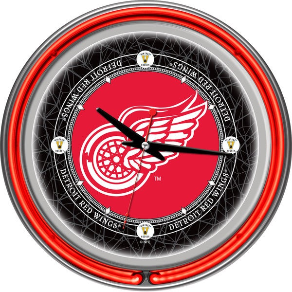 NHL Vintage Detroit Redwings Neon Clock